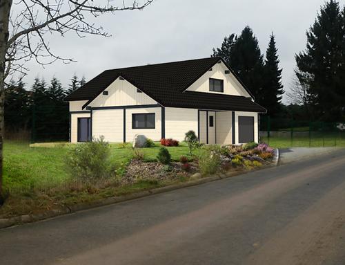 Maison à ossature bois et poteau poutre apparent