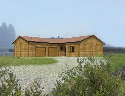 Maison de plain pied à ossature et bardage bois