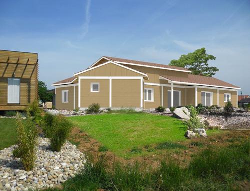 Maison moderne bargage canexel aspect bois