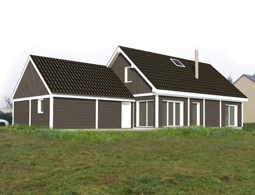 Maison ossature bois bardage canexel brun fonc nos - Maison ossature bois inconvenients ...