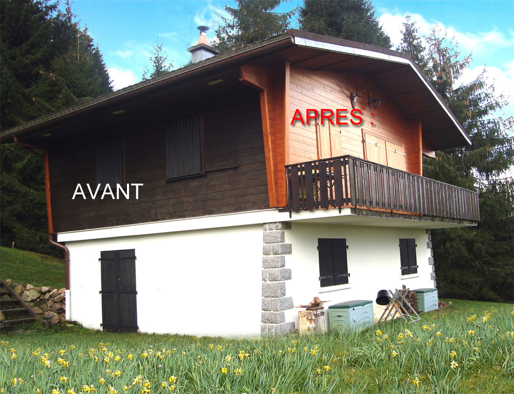 R novation des fa ades sur ancien chalet de 1972 for Renovation maison exterieur avant apres