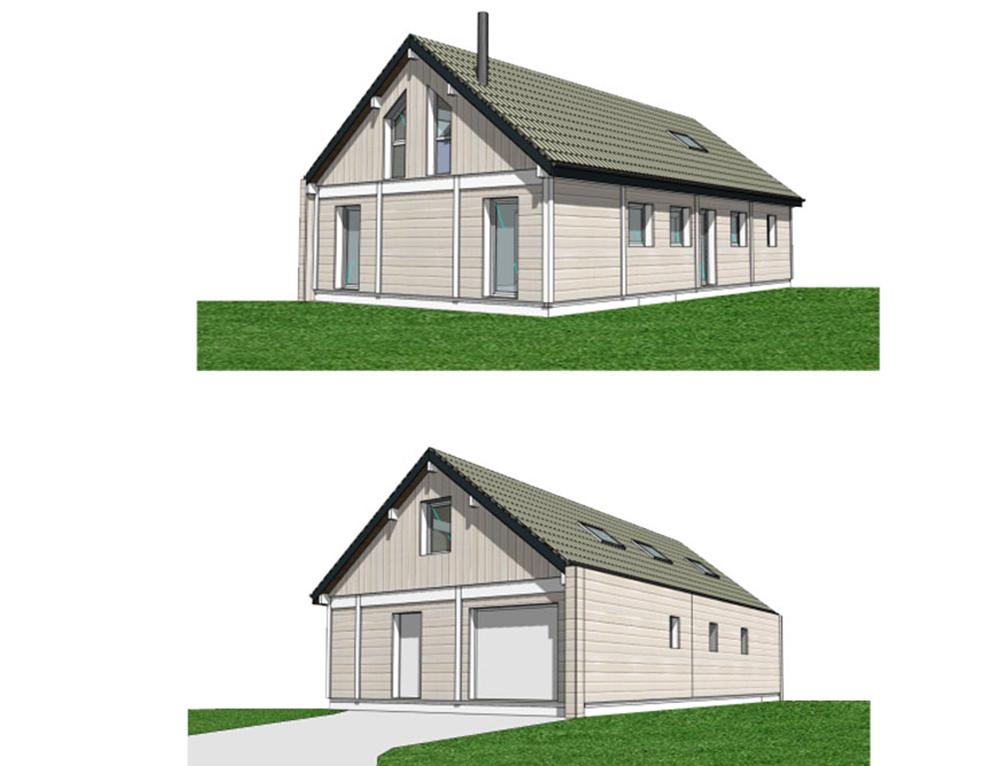 Maison à ossature bois et bardage canexel Nos Projets Maison 2 pans