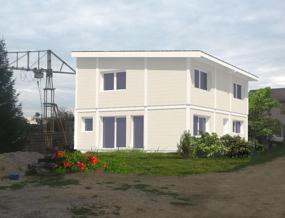 maison ossature bois et toit plat nos projets maison 1 pan. Black Bedroom Furniture Sets. Home Design Ideas