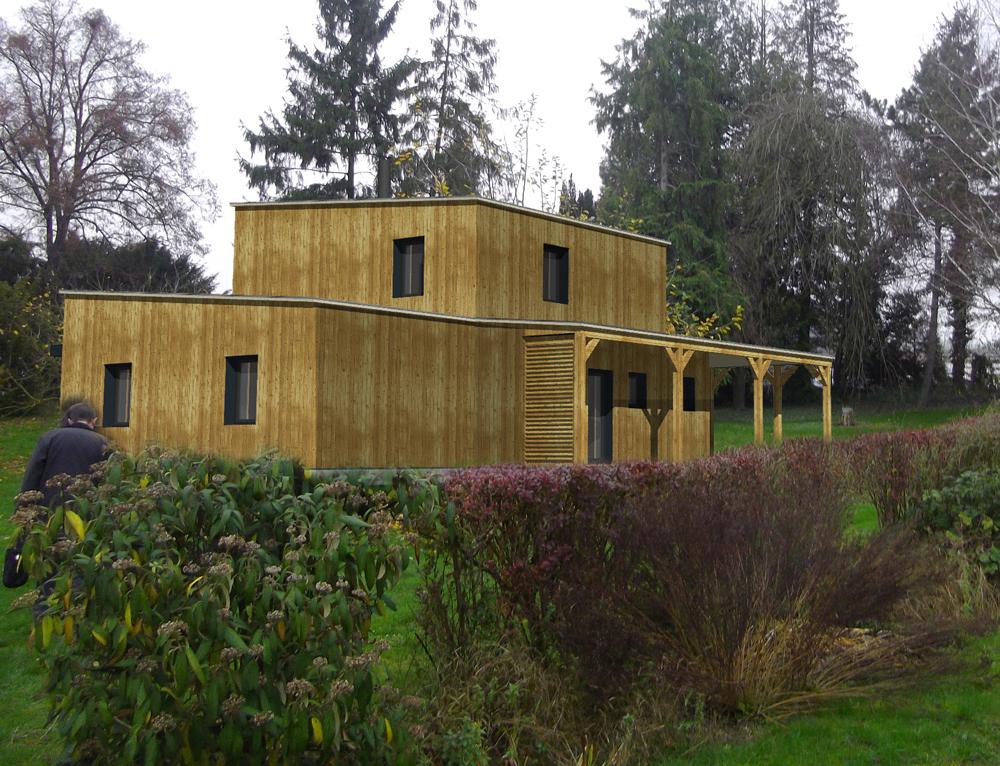 Maison ossature bois toit plat prix kit maison ossature for Meilleur constructeur maison 44