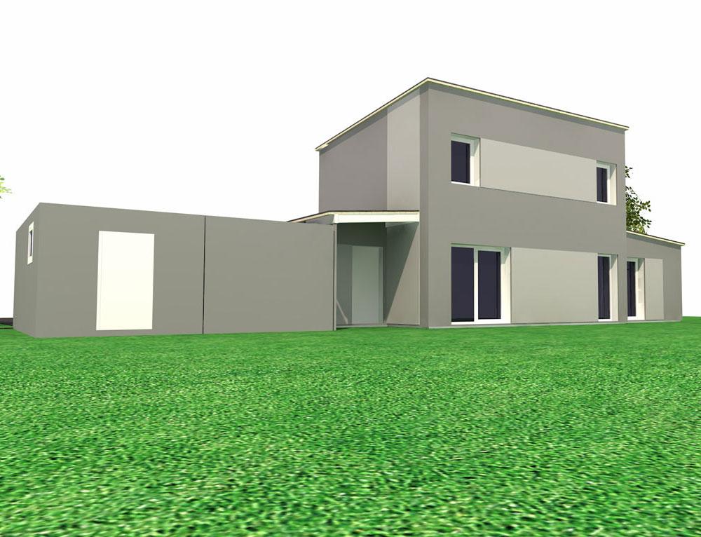 maison cubique ossature bois - Plan Garage Ossature Bois Toit Plat