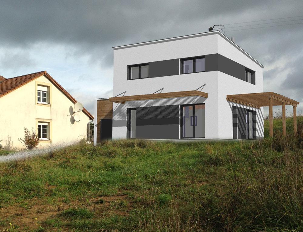 Maison cubique esprit moderne nos projets maison cubique for Maison en cube moderne