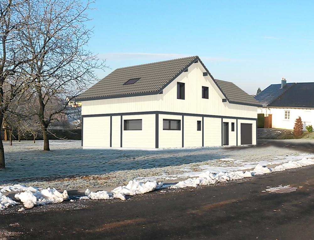 Maison de charme bardage en canexel blanc nos projets for Projets de maisons