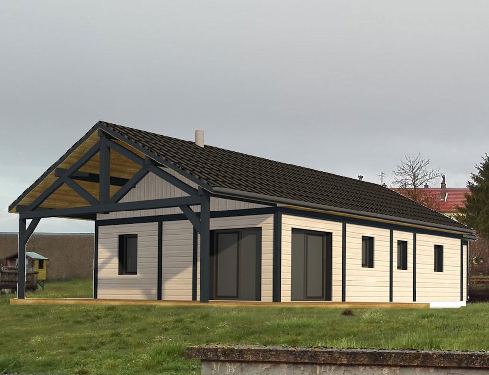 Maison de plain pied avec terrasse couverte nos projets for Maison plain pied bois