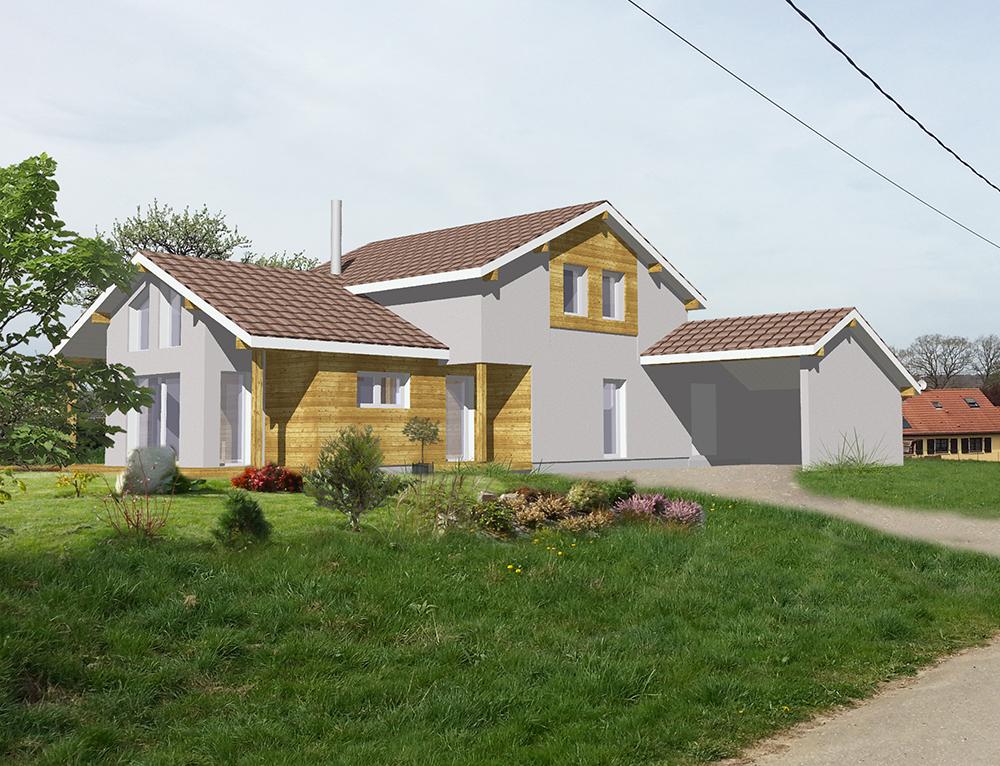 Maison de standing ossature bois avec carport nos - Maison design et tradition ...