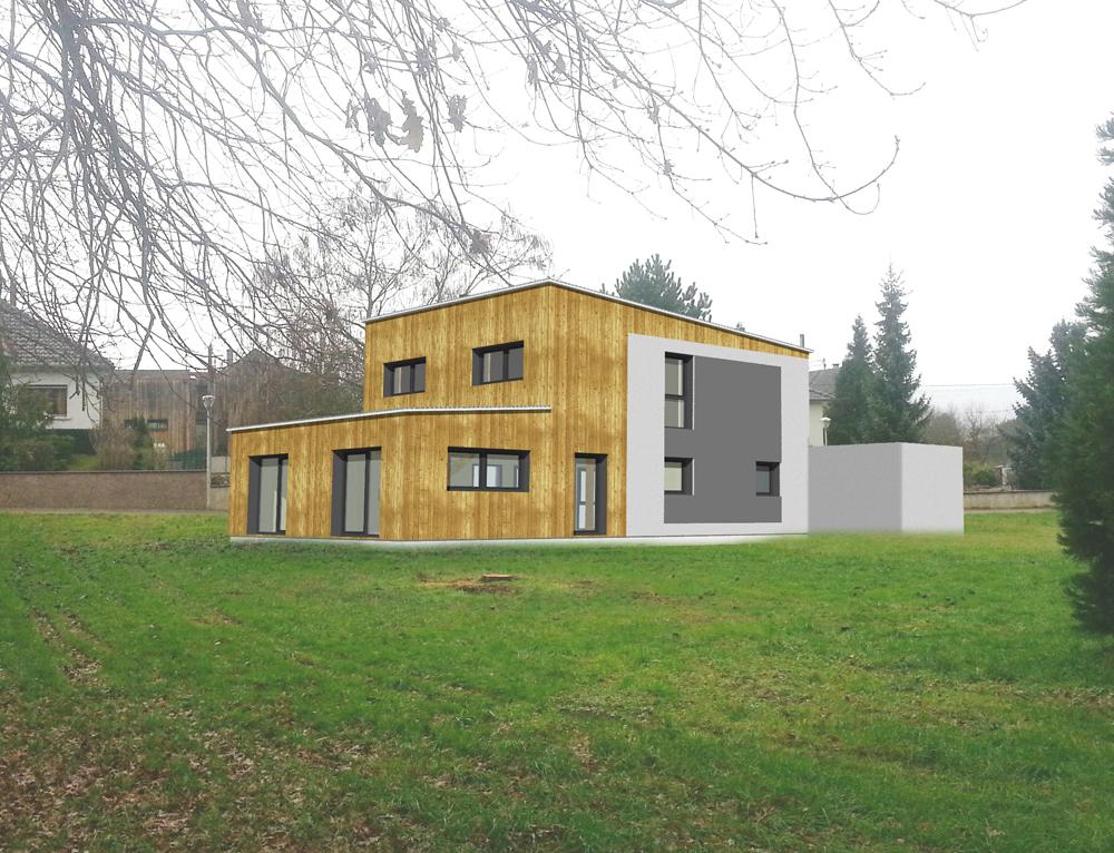 Maison cubique ossature bois nos projets maison cubique - Maison cubique ossature bois ...