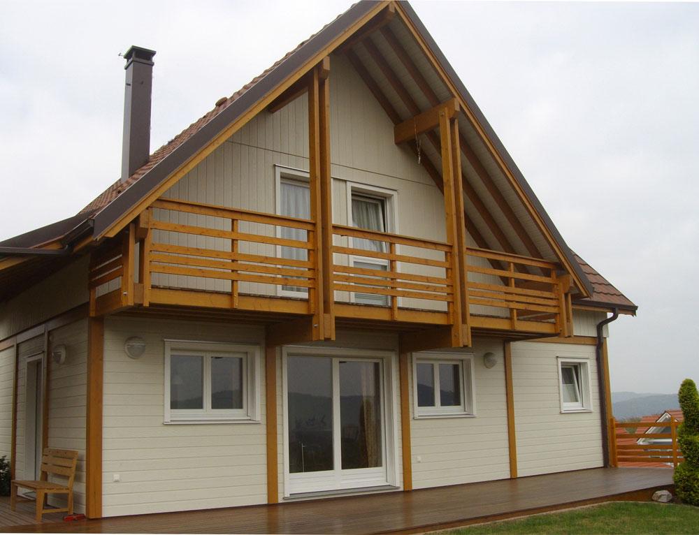 Grande maison bois style alsacien nos maisons ossatures for Maison en bois alsace