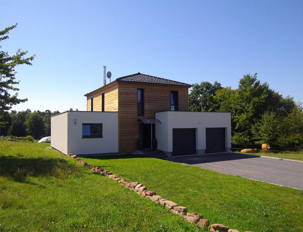 Maison bois cubique toit plat nos maisons ossatures bois maison cubique for Maison cubique toit 4 pans