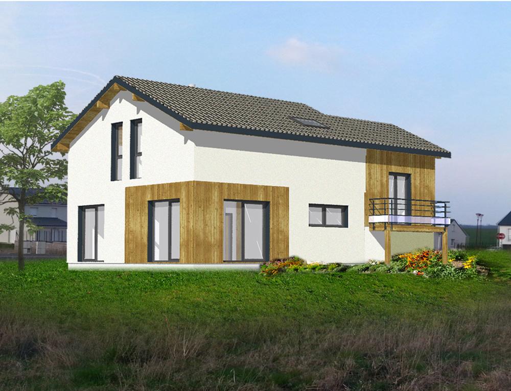 Maison moderne ossature bois nos projets maison 2 pans for Projet maison moderne