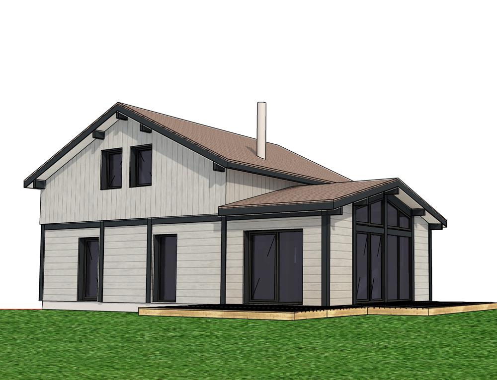 Maison 2 tage avec bardage en canexel blanc nos projets for Bardage maison en bois