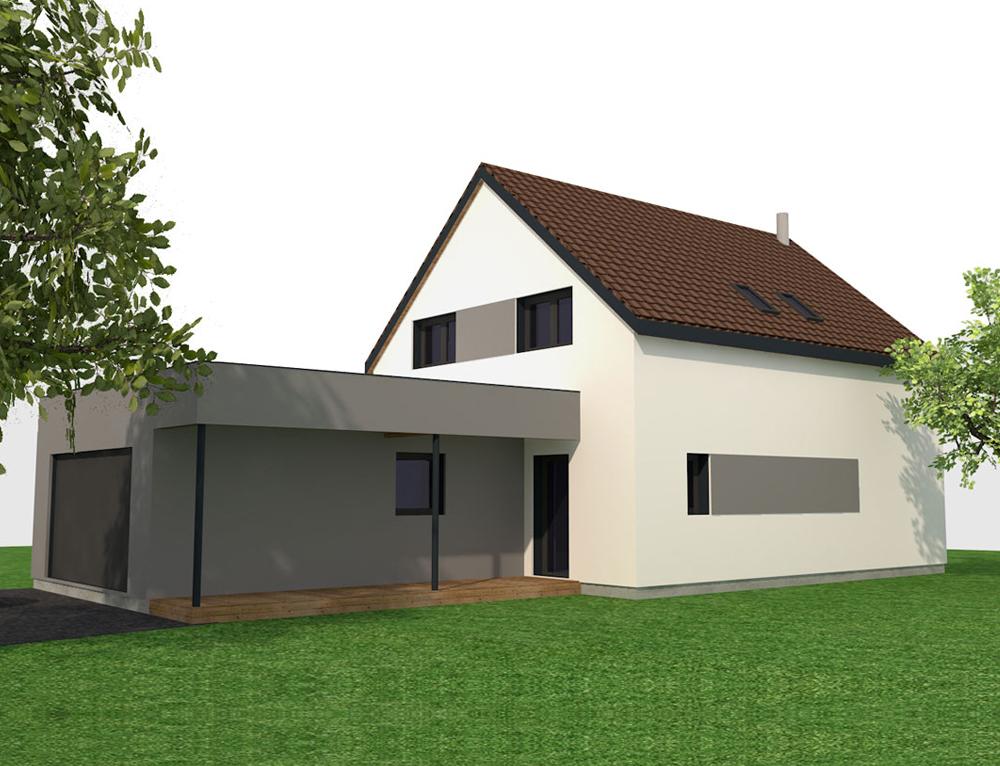 Maison moderne ossature bois nos projets maison 2 pans for Maison en bois moderne