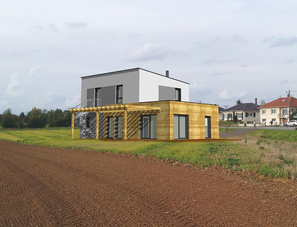 Maison cubique toit plat et ossature bois nos projets for Maison en cube moderne