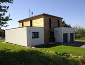 Maison bois cubique à toit plat