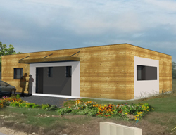 maison moderne toit plat ossature et bardage bois